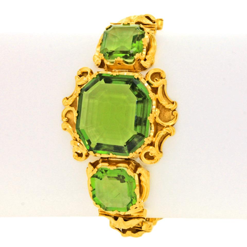 1880s Rococo Revival Peridot Bracelet