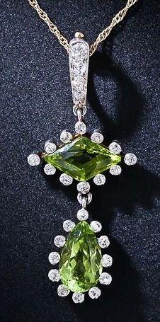 Antique Peridot Drop Necklace
