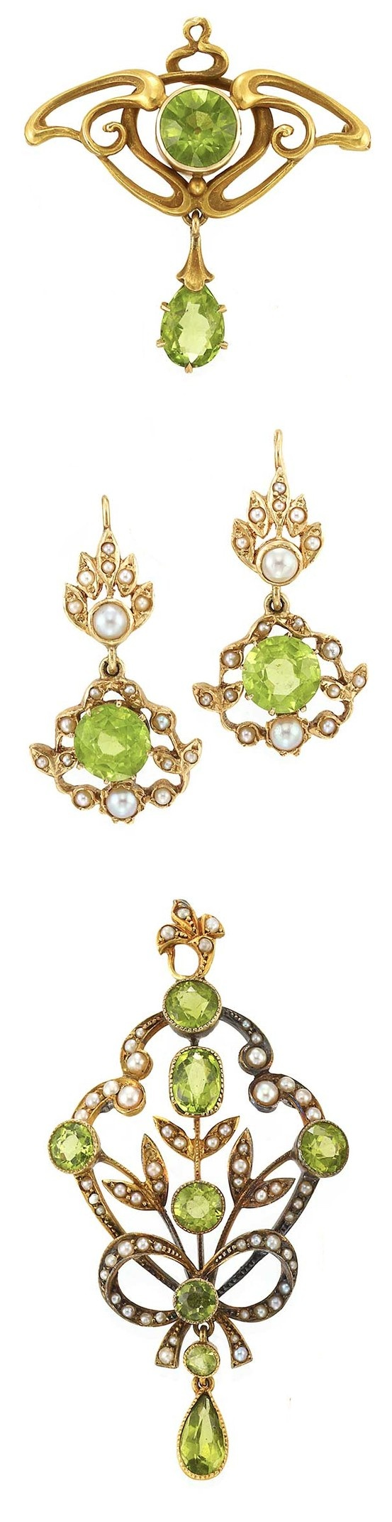 Art Nouveau Peridot Jewelry Set