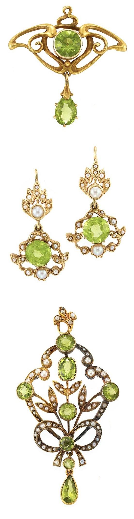 Art Nouveau Peridot Jewelry Set