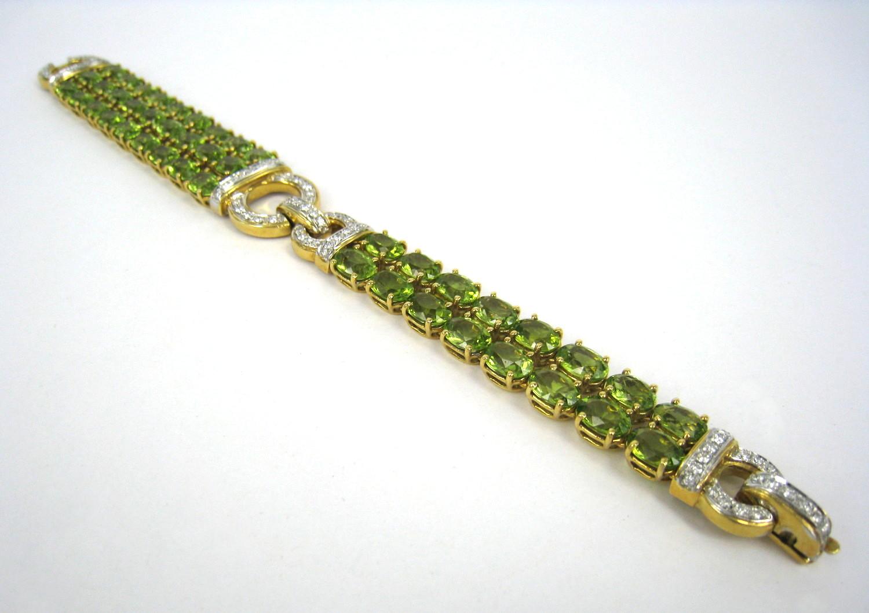 Italian Peridot & Diamond Gold Bracelet